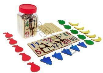 Счетный материал Фрукты 100 элементов (цифры и знаки 26шт, 24 фруктов, 50 счетных палочек) 23402