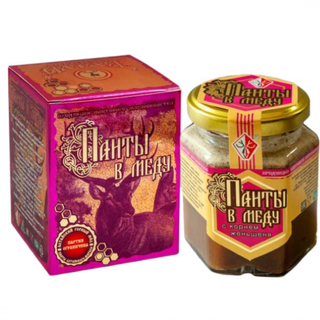 Панты в меду с корнем женьшеня 230 грамм