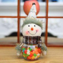 Новогодняя пластиковая банка для конфет с игрушкой, Снеговик