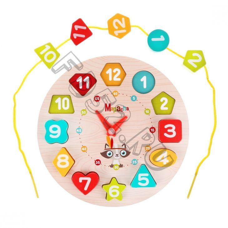 """Развивающая игра 3в1 """"Часы"""": вкладыш, шнуровка, обучение формам и цифрам 76847"""