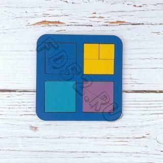 Рамка вкладыш Сложи квадрат, Никитин, 4 квадрата, ур.1, в асс-те 22030