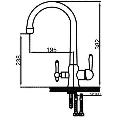 Смеситель для кухни с выходом под фильтр Faop A4398