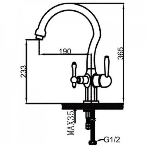 Смеситель для кухни с выходом под фильтр Faop A4398-2