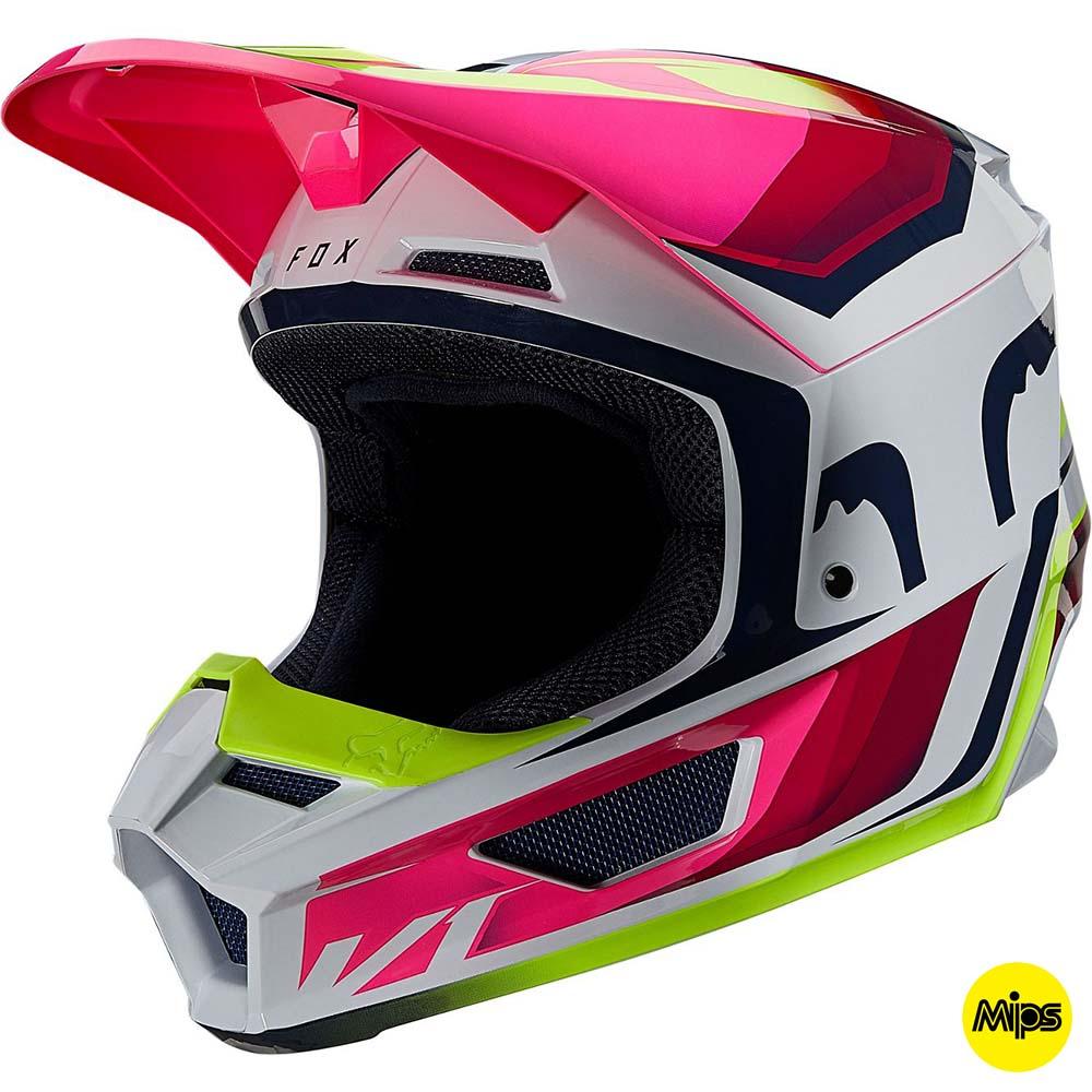 Fox V1 Tro Fluorescent Yellow шлем внедорожный