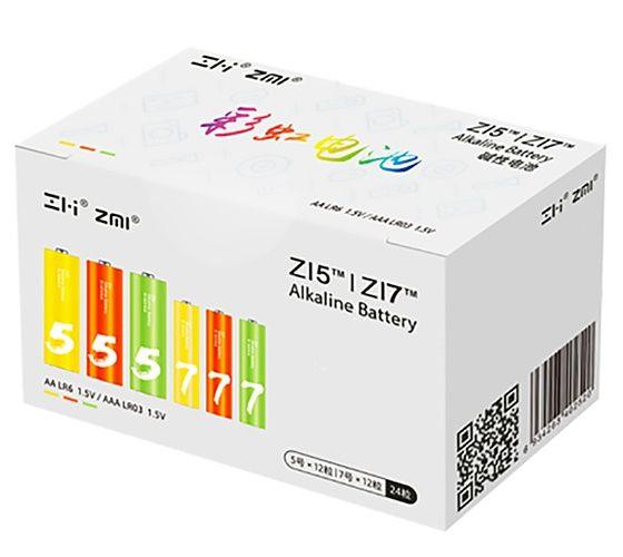 Батарейки алкалиновые Xiaomi ZMI Rainbow ZI5AA / ZI7AAA (12+12 шт.) (AL24)