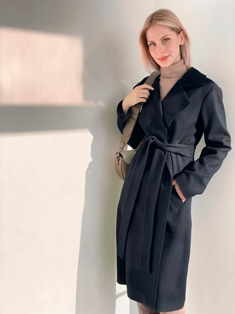 s3800 Пальто классическое тёмно-синее