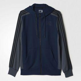 Толстовка adidas Essentials 3 Stripes Hoodie сине-серая