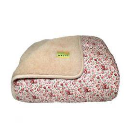 Одеяло меховое из открытой овечьей шерсти Цветочек красный