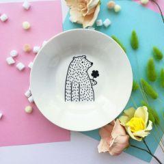 Тарелка глубокая «Цветочный мишка» 20 см фарфор