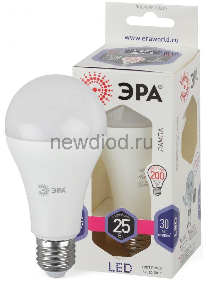 Лампы СВЕТОДИОДНЫЕ СТАНДАРТ LED A65-25W-860-E27  ЭРА (диод, груша, 25Вт, хол, E27)