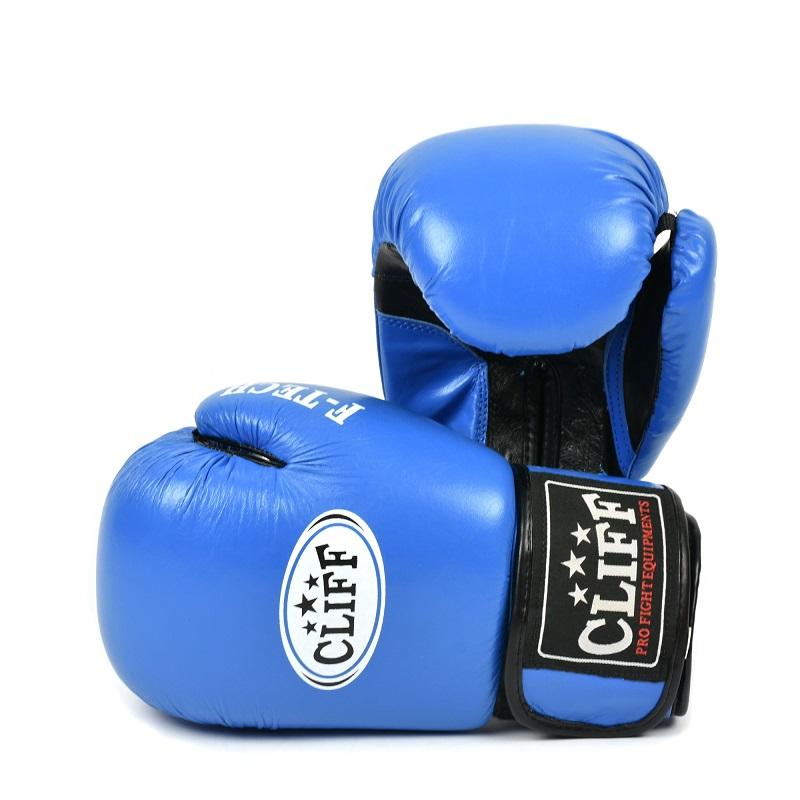 Перчатки боксерские CLIFF, F.TECH (кожа)  8 oz синие
