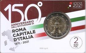 150 лет со дня провозглашения Рима столицей Италии  2 евро Италия 2021 BU Блистер