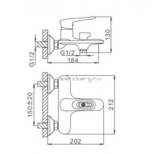 Черный смеситель для ванны Frap F3249-6