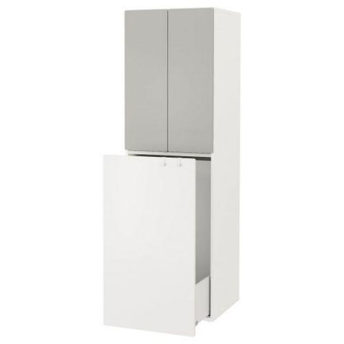 SMASTAD СМОСТАД, Гардероб с выдвижным модулем, белый серый/с платяной штангой, 60x57x196 см - 193.959.97