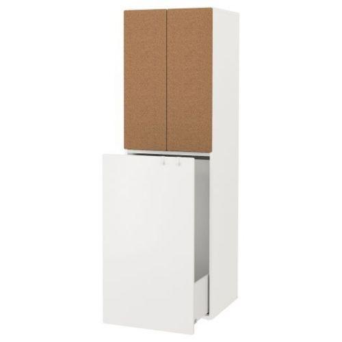 SMASTAD СМОСТАД, Гардероб с выдвижным модулем, белый пробка/с платяной штангой, 60x57x196 см - 593.961.60
