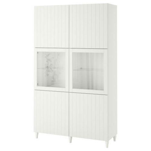 BESTA БЕСТО, Комбинация д/хранения+стекл дверц, белый Суттервикен/Синдвик белый прозрачное стекло, 120x42x202 см - 993.849.52