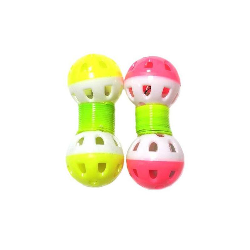 Игрушка для животных с бубенчиком Два шарика на пружинке 9х3 см, 2 шт, Цвет Розовый-Жёлтый
