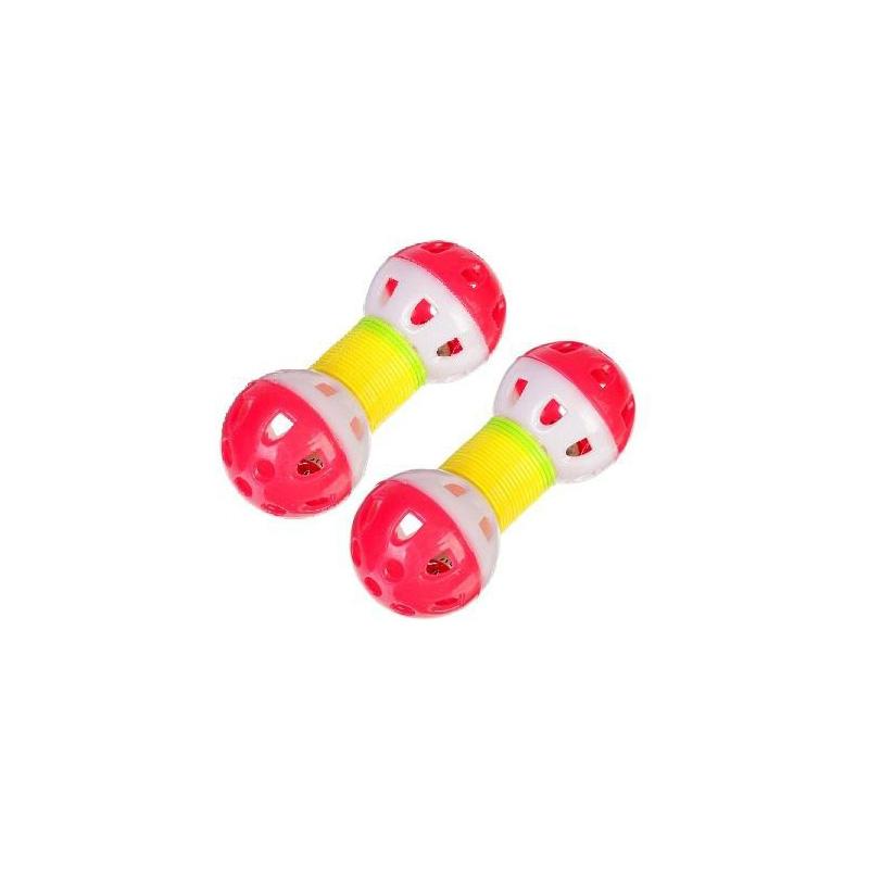 Игрушка для животных с бубенчиком Два шарика на пружинке 9х3 см, 2 шт, Цвет Розовый-Розовый