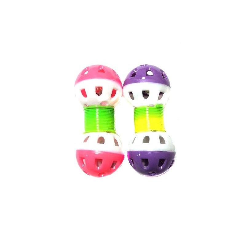 Игрушка для животных с бубенчиком Два шарика на пружинке 9х3 см, 2 шт, Цвет Розовый-Фиолетовый