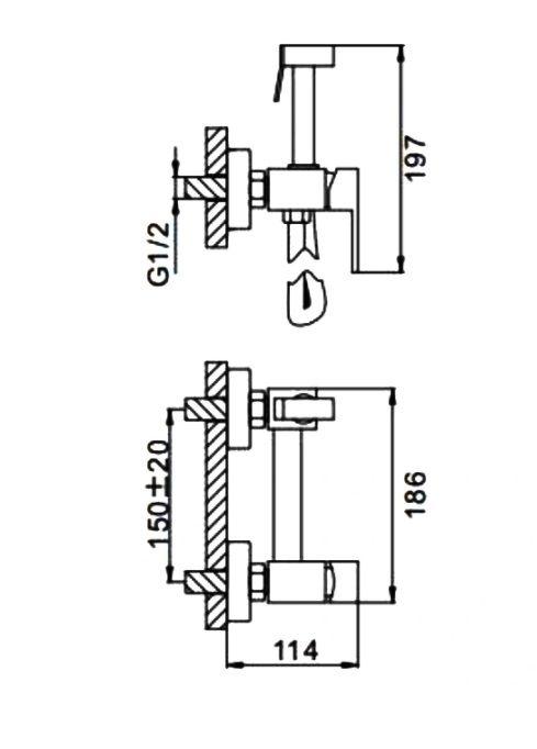 Черный гигиенический душ Frap F7504-6