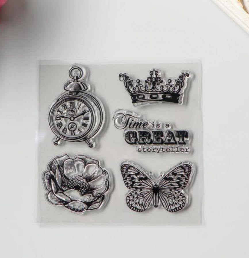 Штамп силиконовый Бабочка, цветок и корона