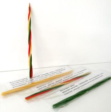 Уничтожение негатива Свеча Скрутка из 4-х свечей 21 см