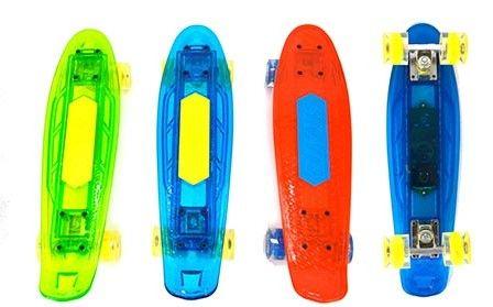 Детский скейт круизер Пенни борд со встроенной колонкой прозрачный светящиеся колеса 61 см.