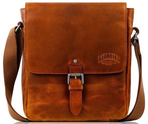 Мужская кожаная сумка через плечо с клапаном Klondike Digger Erin, цвета коньяк