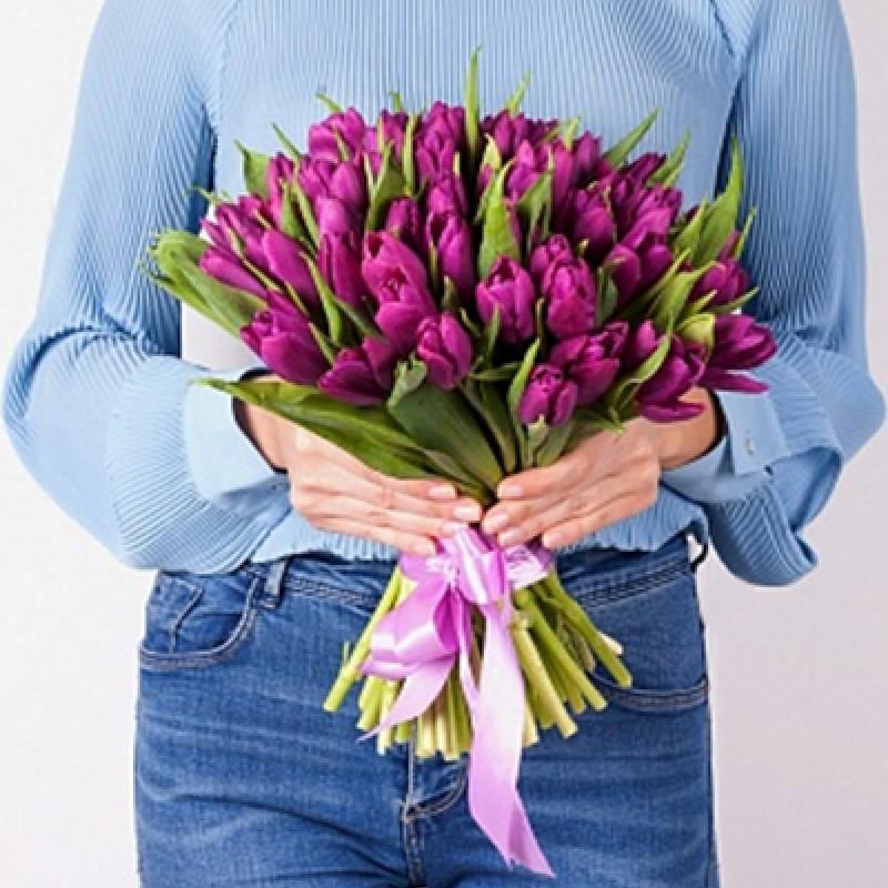 Сиреневые тюльпаны (от 15 шт)