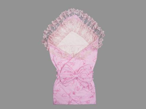 Комплект на выписку 5 пред. гипюр атлас, цвет розовый 5-KM004-AT