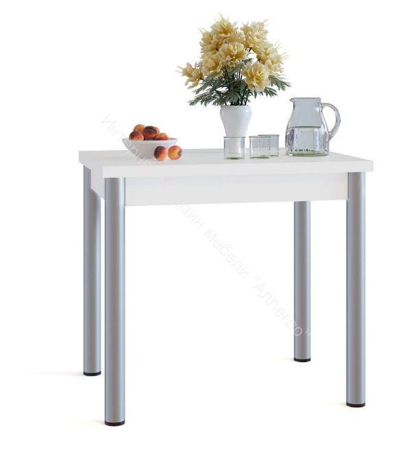 """Кухонный стол """"СО-1М"""" раскладной на металлических опорах Белый"""