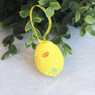 """Пасхальный декор """"Желтое яйцо с лентой"""" 3*4 см"""