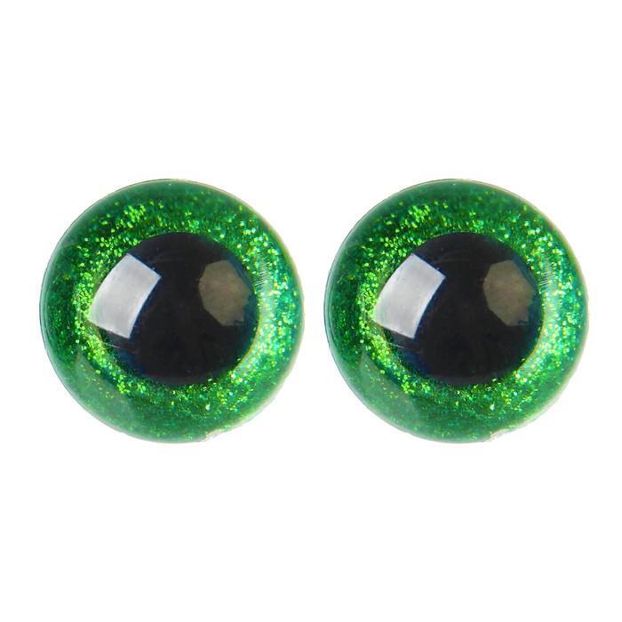 Глазки винтовые с заглушками Блестки 18мм зеленый