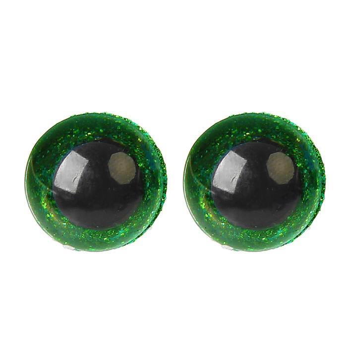 Глазки винтовые с заглушками Блестки 16мм зеленый