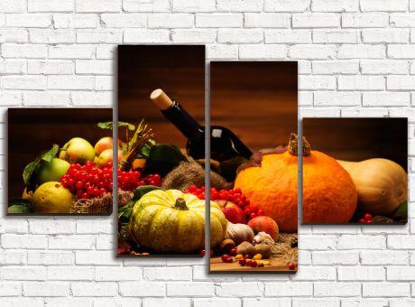 Модульная картина Овощи и вино