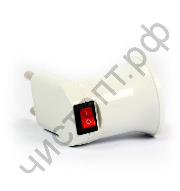 Переходник вилка-Е27 с выключателем, белый Smartbuy (SBE-A-L-E27)