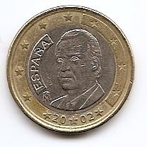 1 евро регулярная монета Испания 2002