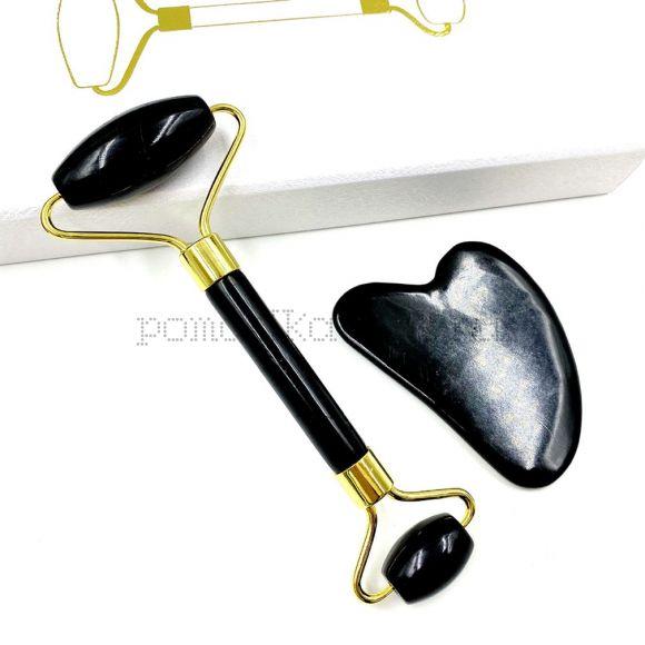 Натуральный черный обсидиан нефритовый валик инструмент лифтинга лица Массажер