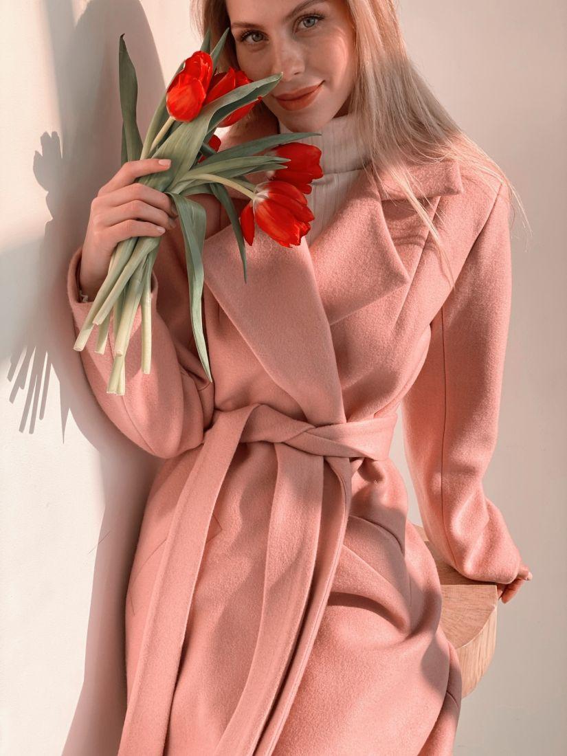 s3812 Пальто классическое в нежном пудровом цвете