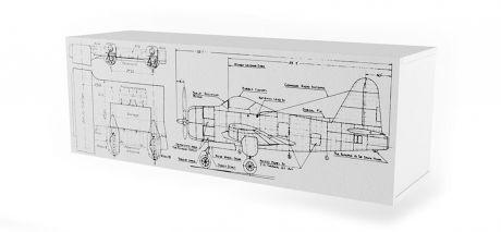Полка 3 Куба с фасадом печать Авиатор Ньютон Грэй