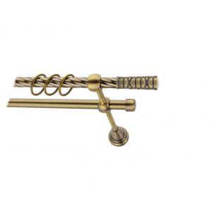 Карниз металлический круглый двухрядный витой антик  МК 021 наконечник Мозайка