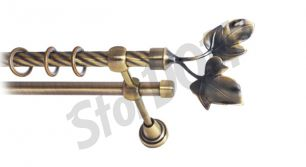 Карниз металлический круглый двухрядный витой антик  МК 026 наконечник Фиговый лист