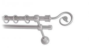 Карниз металлический круглый двухрядный витой сатин МК 007 наконечник Крюк