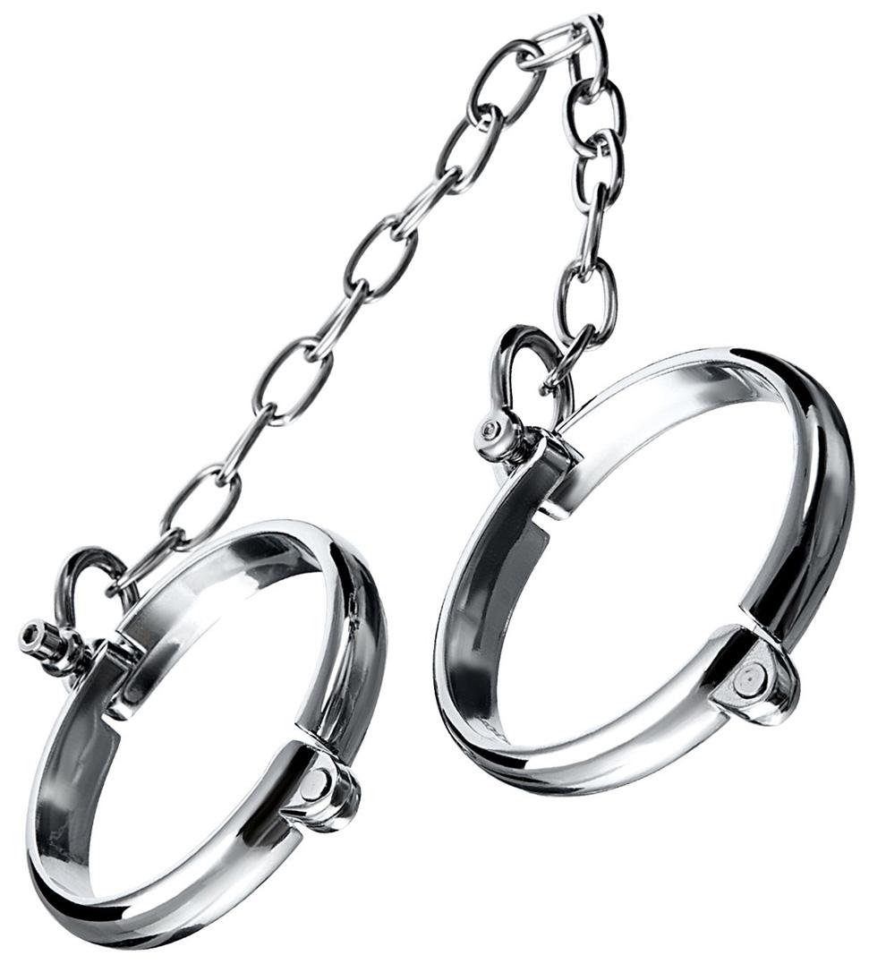 Серебристые металлические наручники с цепочкой Metal