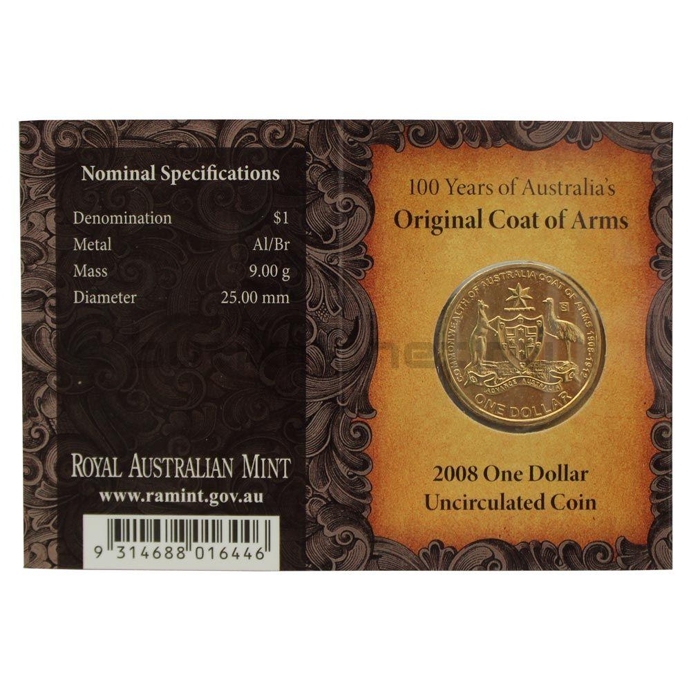1 доллар 2008 Австралия 100 лет первому гербу