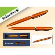 Ручка шариковая в футляре, оранжевый цвет корпуса, синие чернила (арт. S 3527)