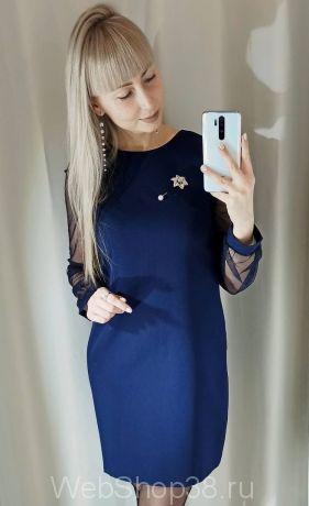 Темно-синее платье с рукавами из сетки с блестками