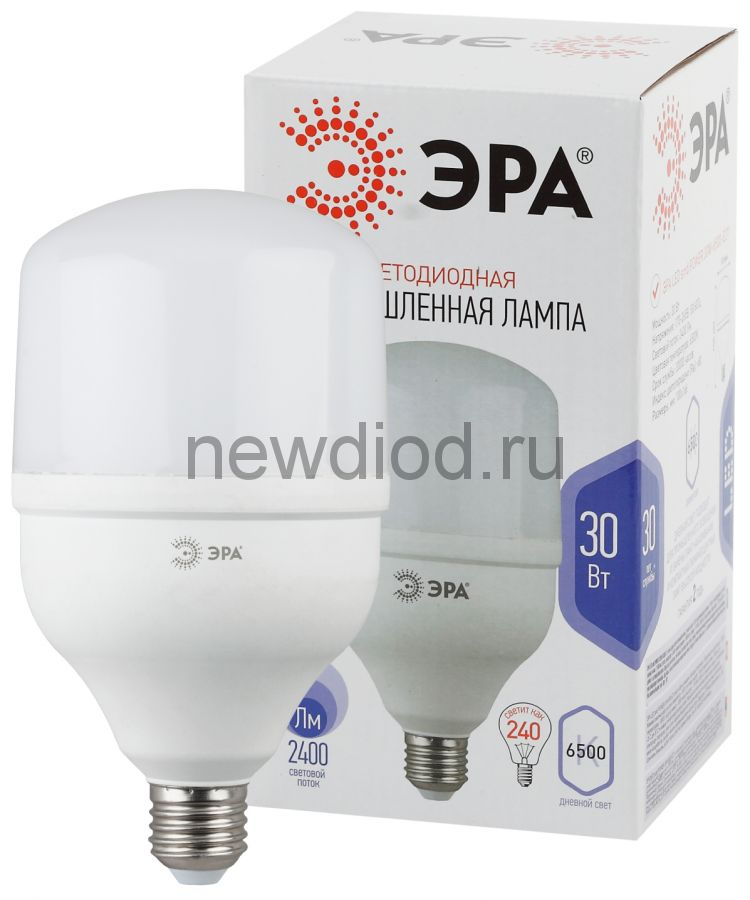 Лампы СВЕТОДИОДНЫЕ POWER  LED POWER T100-30W-6500-E27  ЭРА (диод, колокол, 30Вт, хол, E27)