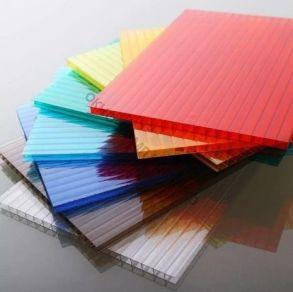 """Сотовый поликарбонат 16мм""""Кристалл"""" . Плотность:1,91м2. Цвет: желтый, оранжевый, бордовый, красный, синий, зеленый, бирюза, серебристый, молочный, без добавки «колотый лед» колотый лед прозрачный. Размер: 2,1*6м"""