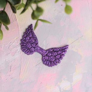 Кукольный аксессуар - Патч фиолетовые крылья с блестками, 1шт
